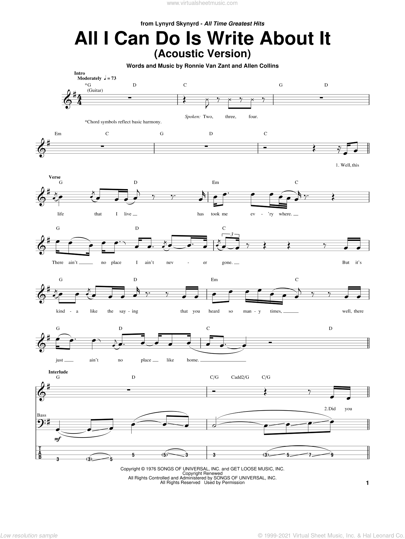 All I Can Do Is Write About It sheet music for bass (tablature) (bass guitar) by Ronnie Van Zant, Lynyrd Skynyrd and Allen Collins