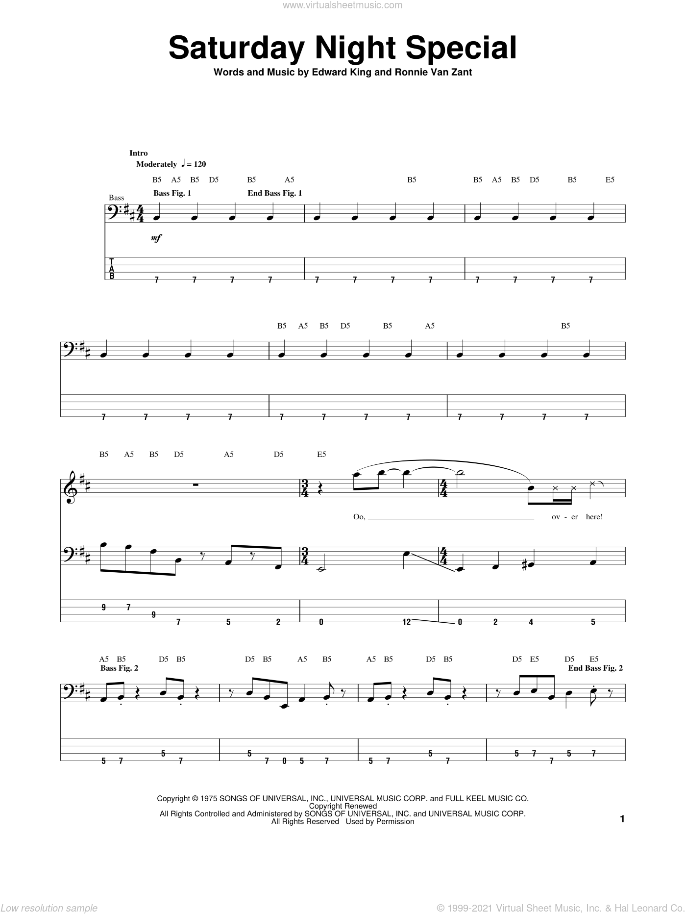 Saturday Night Special sheet music for bass (tablature) (bass guitar) by Lynyrd Skynyrd, Edward King and Ronnie Van Zant, intermediate. Score Image Preview.
