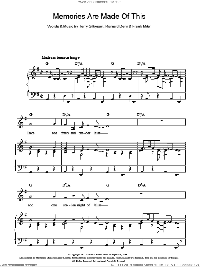 Memories Are Made Of This sheet music for voice, piano or guitar by Terry Gilkyson, Dean Martin and Richard Dehr. Score Image Preview.