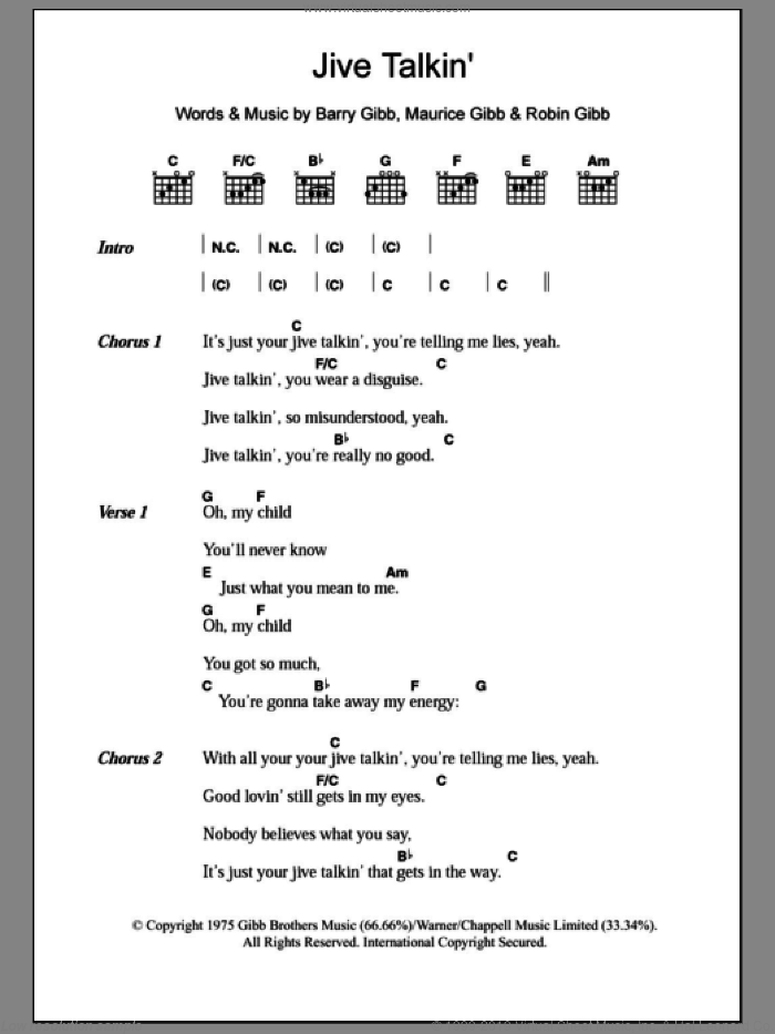 Jive Talkin' sheet music for guitar (chords) by Bee Gees, Barry Gibb, Maurice Gibb and Robin Gibb, intermediate