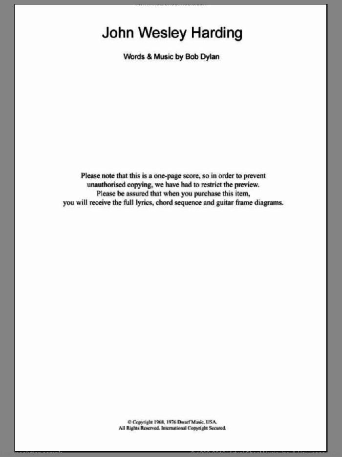 John Wesley Harding sheet music for guitar (chords) by Bob Dylan, intermediate skill level