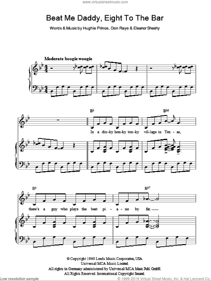 Beat Me Daddy, Eight To The Bar sheet music for voice, piano or guitar by Andrews Sisters, Don Raye, Eleanor Sheehy and Hughie Prince, intermediate skill level