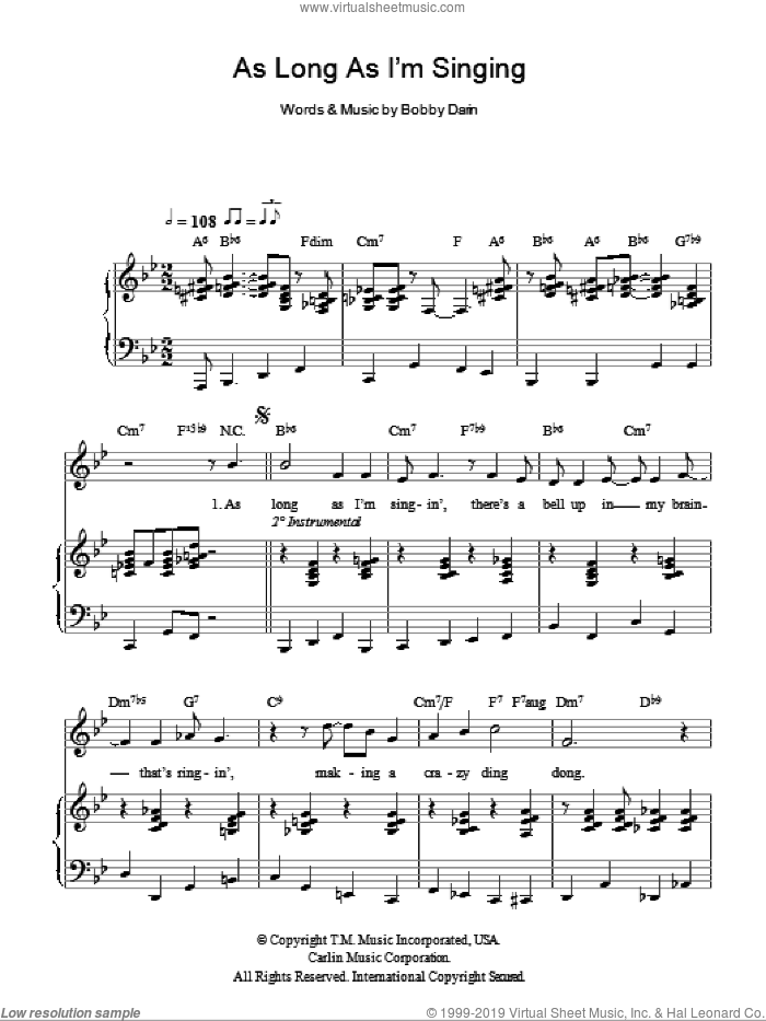 As Long As I'm Singing sheet music for voice, piano or guitar by Bobby Darin, intermediate. Score Image Preview.