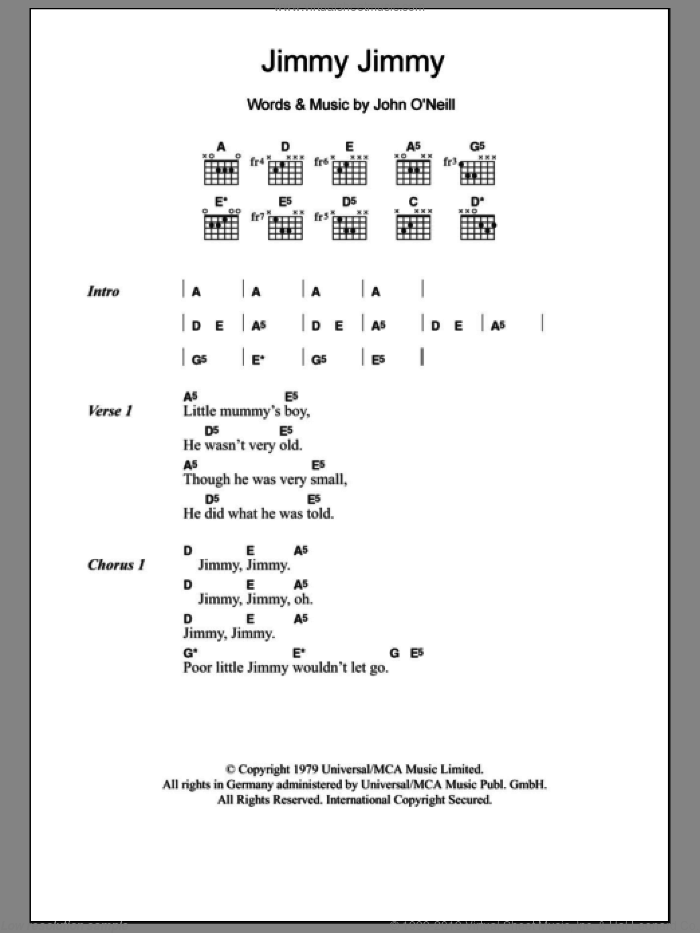 Jimmy Jimmy sheet music for guitar (chords) by John O'Neill, intermediate. Score Image Preview.