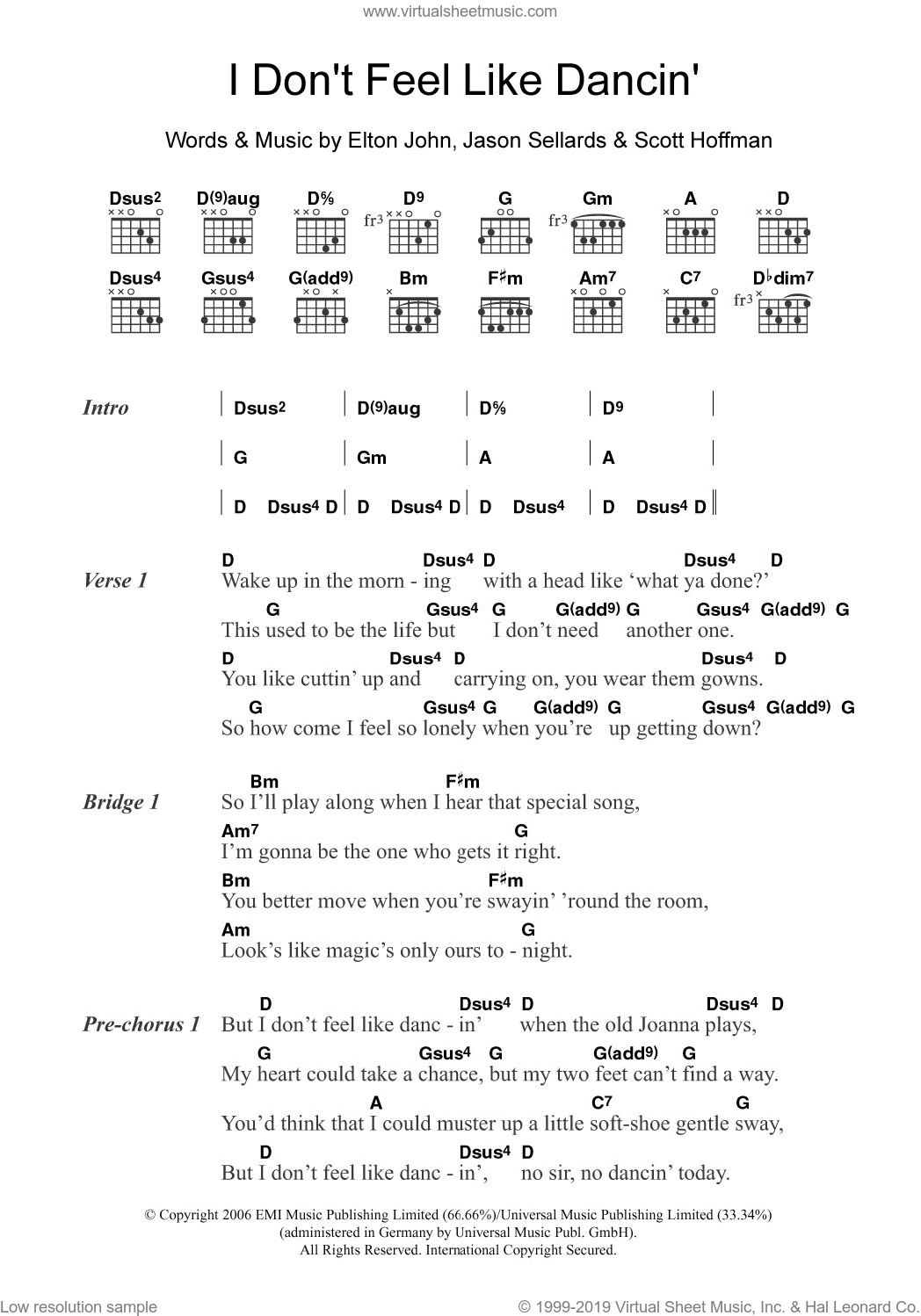 I Don't Feel Like Dancin' sheet music for guitar (chords) by Scissor Sisters and Elton John, intermediate guitar (chords). Score Image Preview.