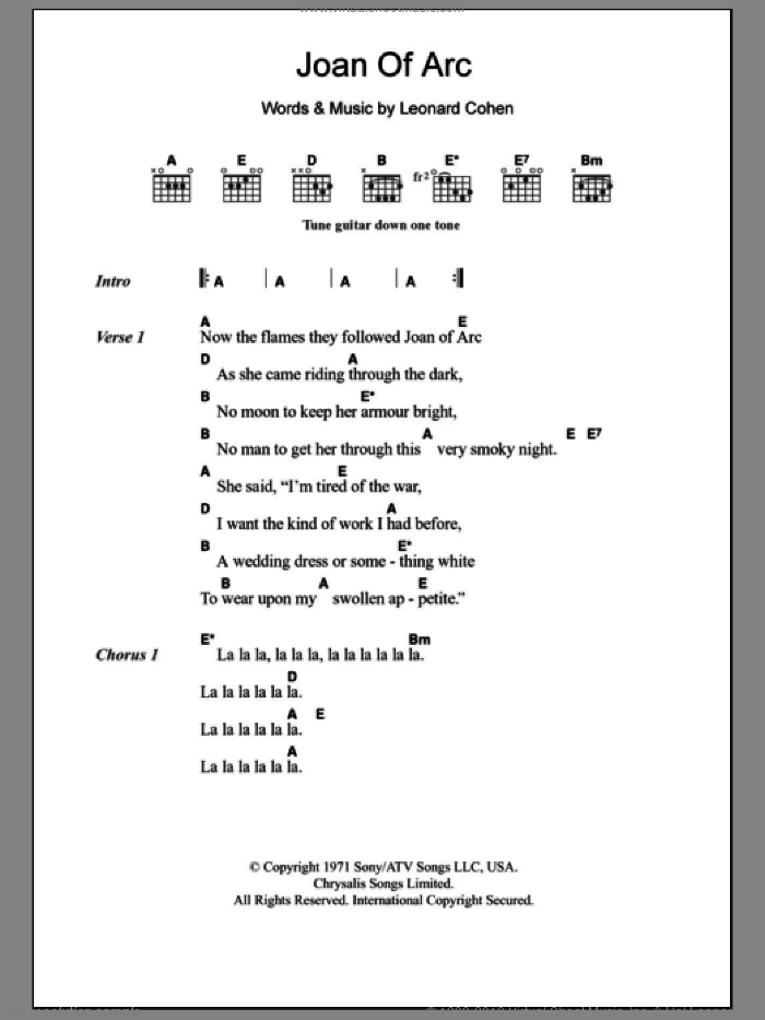 Cohen - Joan Of Arc sheet music for guitar (chords) [PDF]