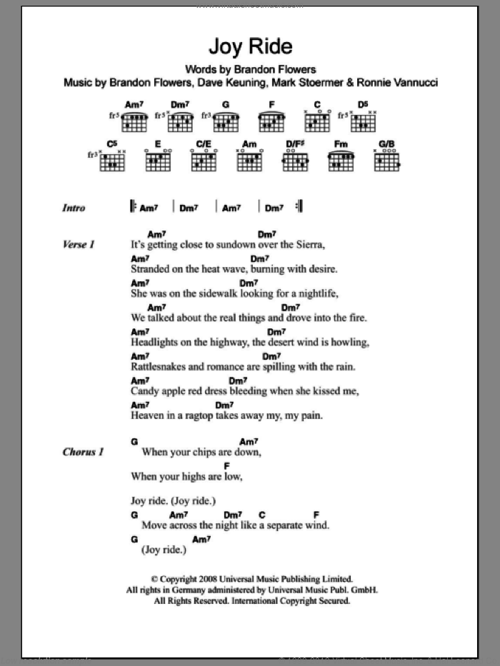 Joy Ride sheet music for guitar (chords) by The Killers and Brandon Flowers, intermediate guitar (chords). Score Image Preview.