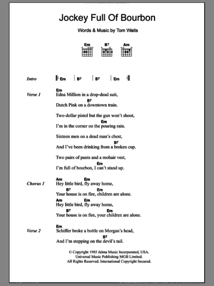 Jockey Full Of Bourbon sheet music for guitar (chords) by Tom Waits, intermediate guitar (chords). Score Image Preview.