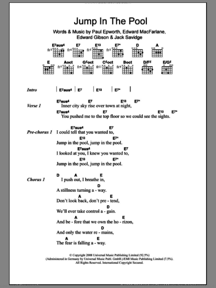 Jump In The Pool sheet music for guitar (chords) by Paul Epworth and Jack Savidge. Score Image Preview.