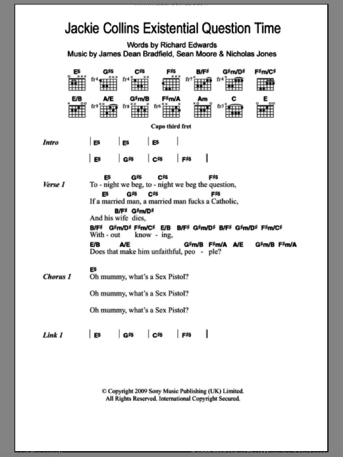 Jackie Collins Existential Question Time sheet music for guitar (chords) by The Manic Street Preachers, Manic Street Preachers, James Dean Bradfield, Nicholas Jones, Richard Edwards and Sean Moore, intermediate. Score Image Preview.