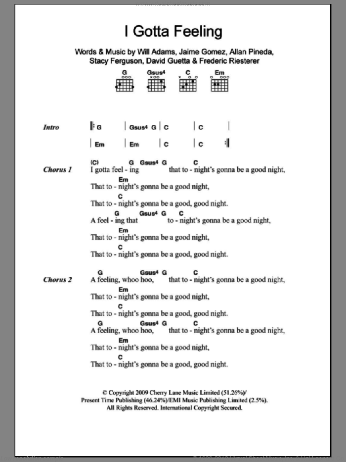 I Gotta Feeling sheet music for guitar (chords) by Will Adams