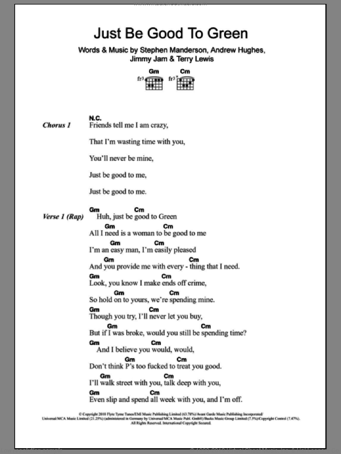 Just Be Good To Green sheet music for guitar (chords) by Professor Green featuring Lily Allen, Andrew Hughes, Jimmy Jam, Stephen Manderson and Terry Lewis, intermediate. Score Image Preview.
