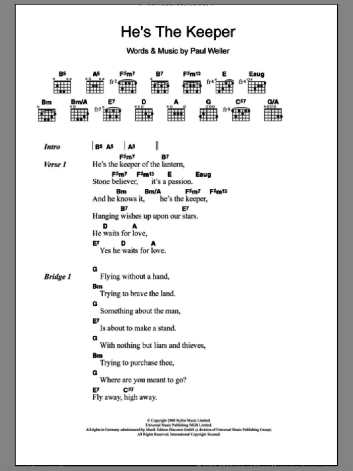 He's The Keeper sheet music for guitar (chords) by Paul Weller, intermediate skill level