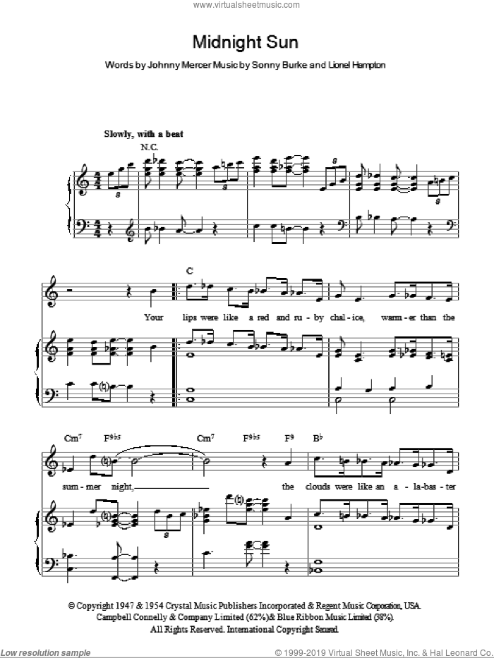 Midnight Sun sheet music for voice, piano or guitar by Sonny Burke, Johnny Mercer and Lionel Hampton. Score Image Preview.