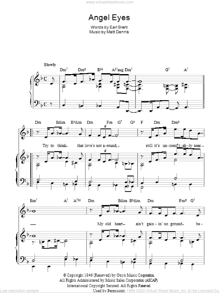 Angel Eyes sheet music for voice, piano or guitar by Matt Dennis, Frank Sinatra and Earl Brent. Score Image Preview.