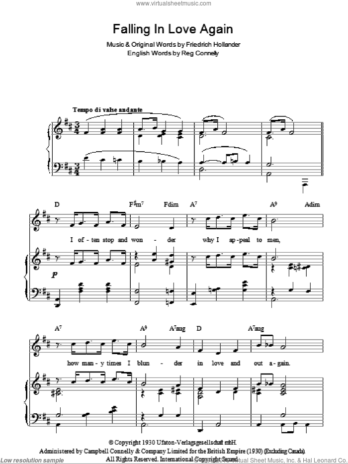 Falling In Love Again (Can't Help It) sheet music for voice, piano or guitar by Marlene Dietrich, Friedrich Hollaender and Sammy Lerner, intermediate skill level