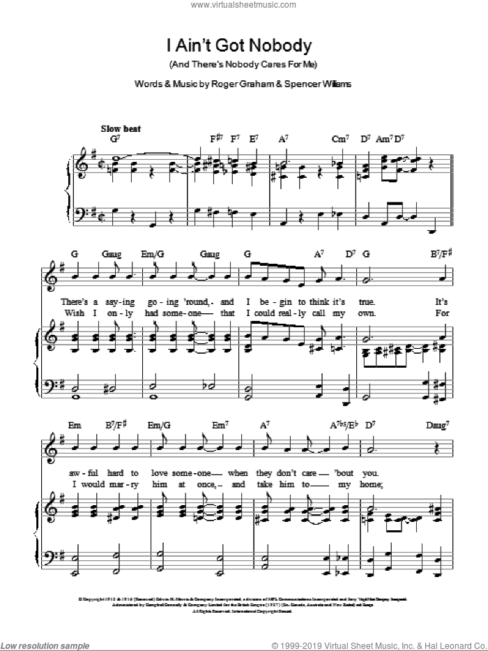 I Ain't Got Nobody (And There's Nobody Cares For Me) sheet music for voice, piano or guitar by Cab Calloway and Spencer Williams. Score Image Preview.