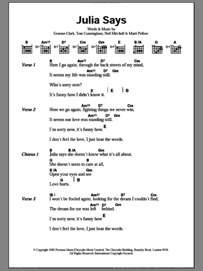 Julia Says sheet music for guitar (chords) by Wet Wet Wet