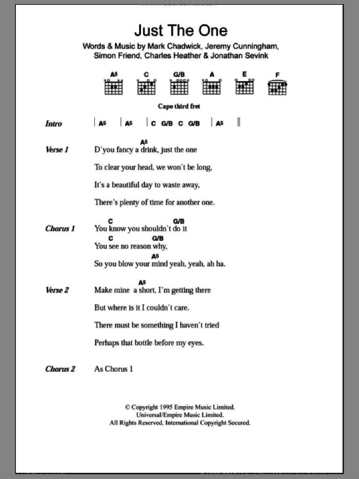Just The One sheet music for guitar (chords) by Simon Friend, The Levellers and Charles Heather. Score Image Preview.