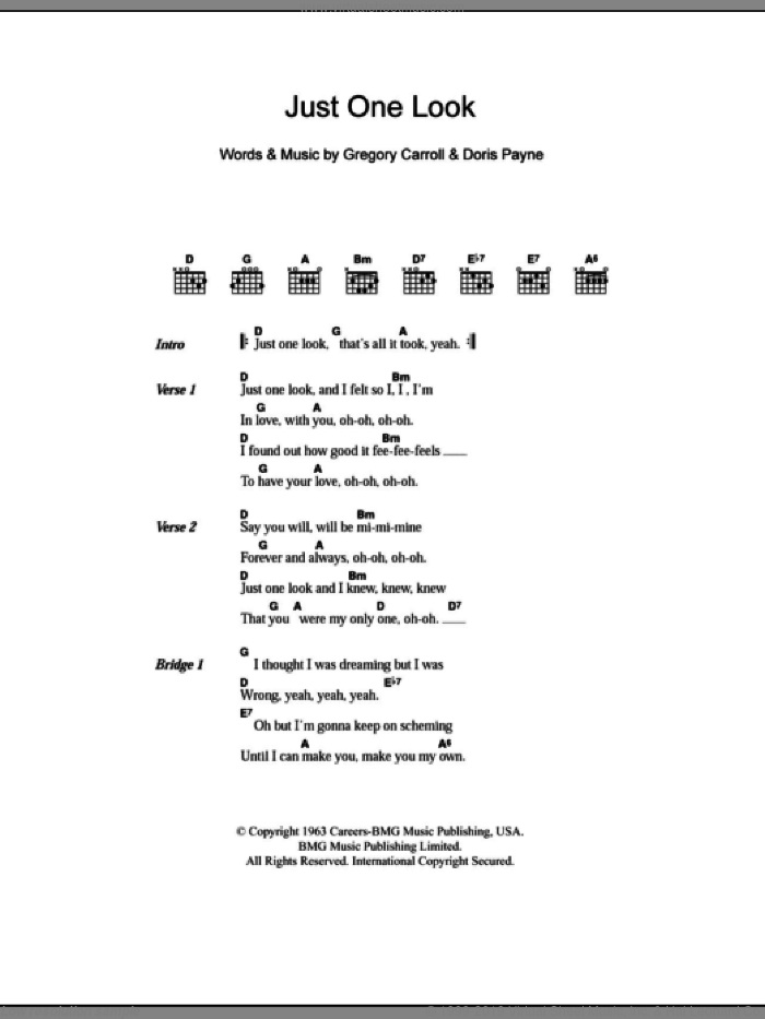 Just One Look sheet music for guitar (chords) by The Hollies. Score Image Preview.