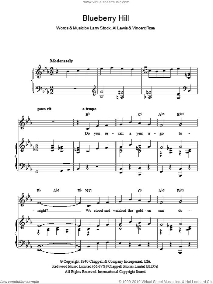 Blueberry Hill sheet music for voice, piano or guitar by Vincent Rose