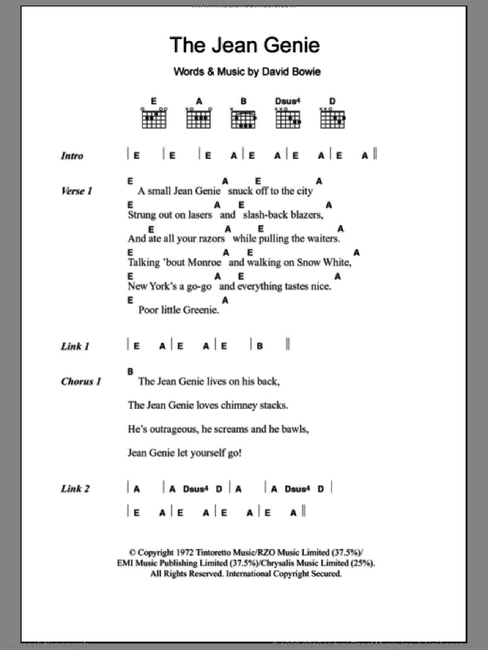 The Jean Genie sheet music for guitar (chords) by David Bowie, intermediate skill level