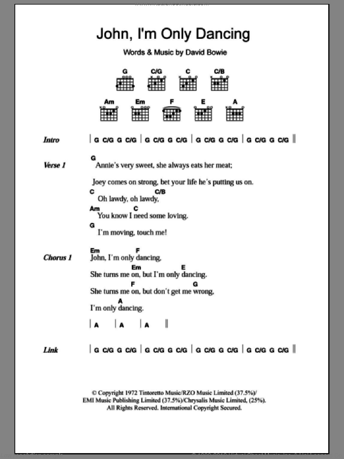 Bowie - John, I\'m Only Dancing sheet music for guitar (chords)