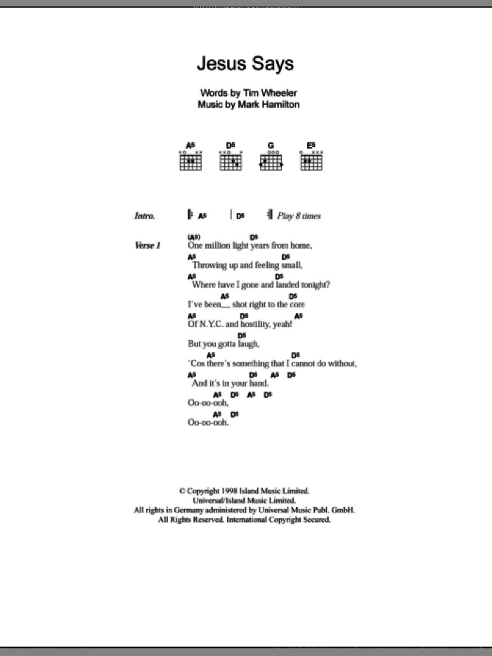 Jesus Says sheet music for guitar (chords) by Mark Hamilton and Tim Wheeler. Score Image Preview.