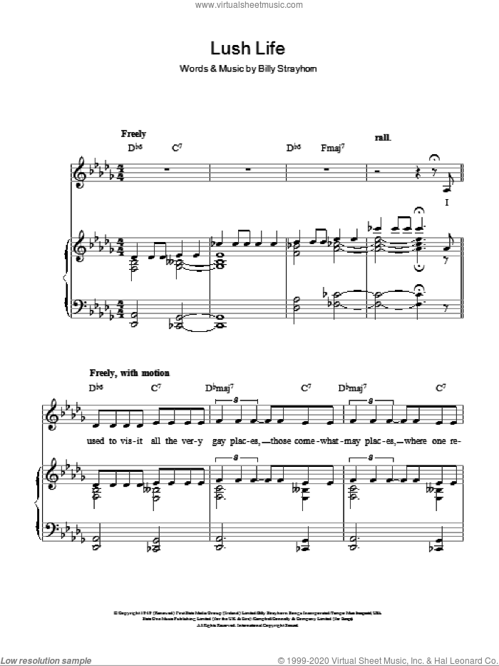 Lush Life sheet music for voice, piano or guitar by Billy Strayhorn, intermediate skill level