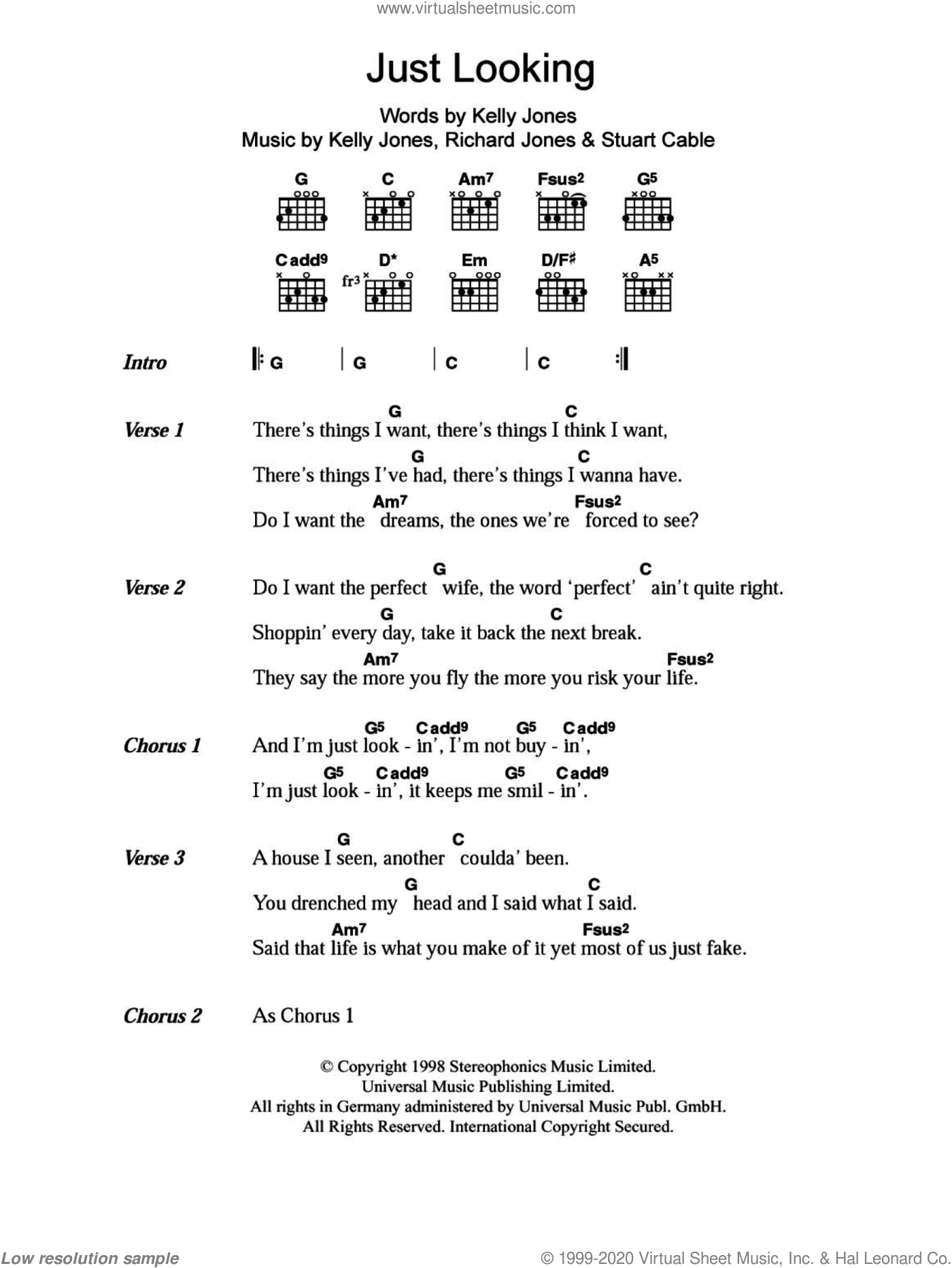 Just Looking sheet music for guitar (chords) by Stereophonics, Kelly Jones, Richard Jones and Stuart Cable, intermediate skill level