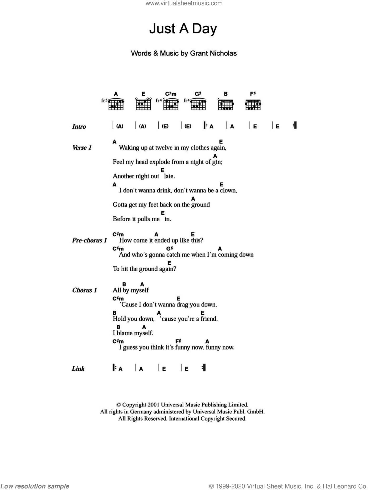 Just A Day sheet music for guitar (chords) by Grant Nicholas and Feeder. Score Image Preview.