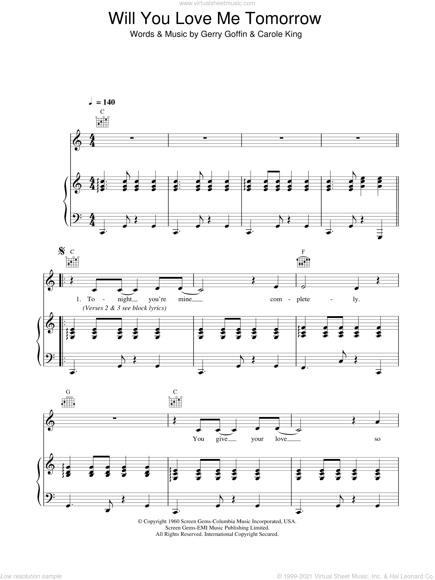 Will You Love Me Tomorrow (Will You Still Love Me Tomorrow) sheet music for voice, piano or guitar by The Shirelles, Carole King and Gerry Goffin, intermediate skill level