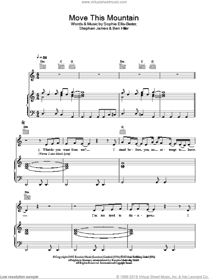 Move This Mountain sheet music for voice, piano or guitar by Sophie Ellis-Bextor, intermediate