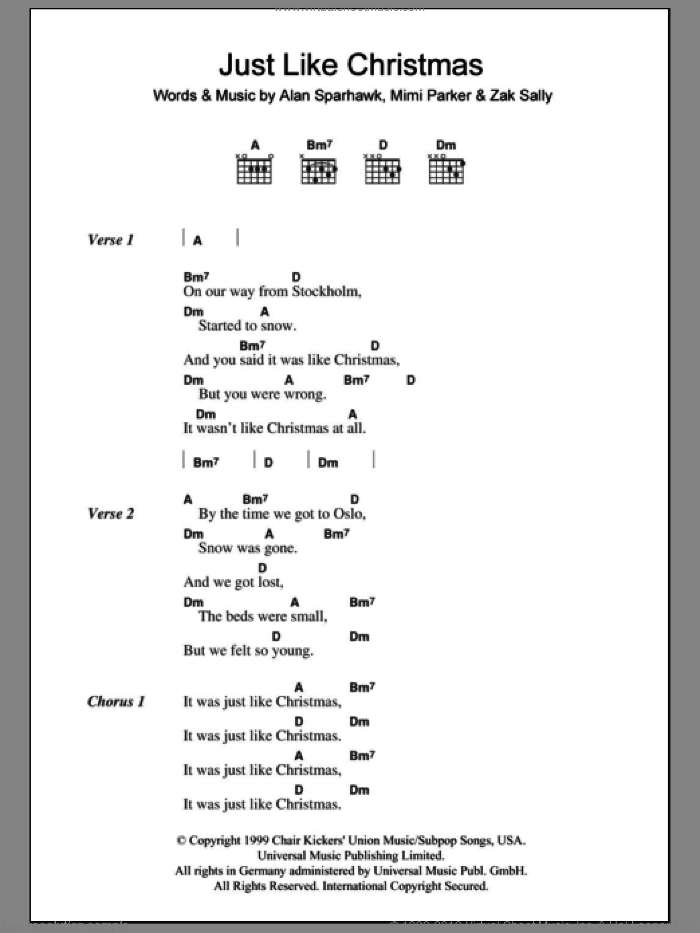 Just Like Christmas sheet music for guitar (chords) by Low, Alan Sparhawk, Mimi Parker and Zak Sally, intermediate skill level