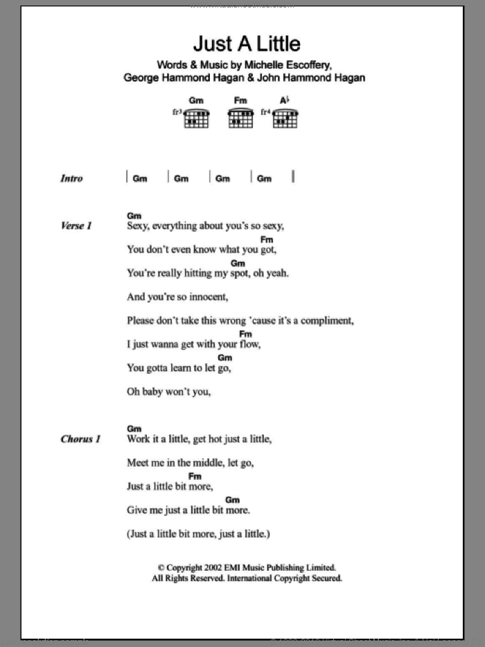 Just A Little sheet music for guitar (chords) by Michelle Escoffery and Liberty X. Score Image Preview.