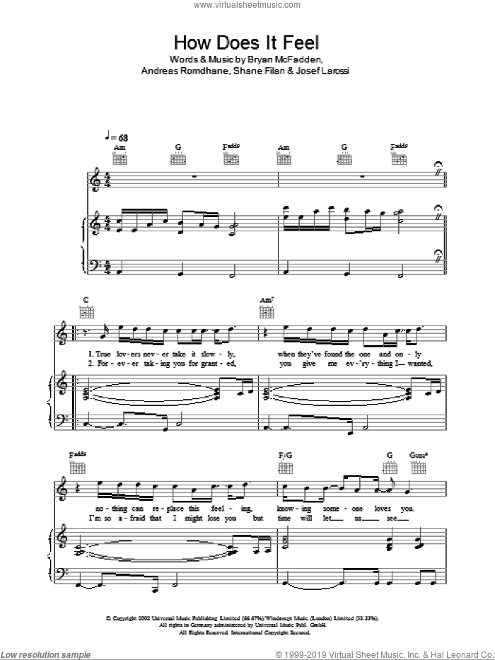 How Does It Feel sheet music for voice, piano or guitar by Shane Filan, Westlife, Andreas Romdhane, Brian McFadden and Josef Larossi. Score Image Preview.