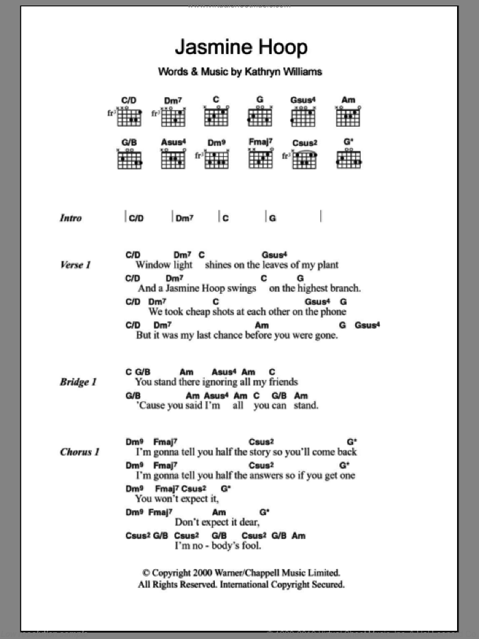 Jasmine Hoop sheet music for guitar (chords) by Kathryn Williams, intermediate skill level