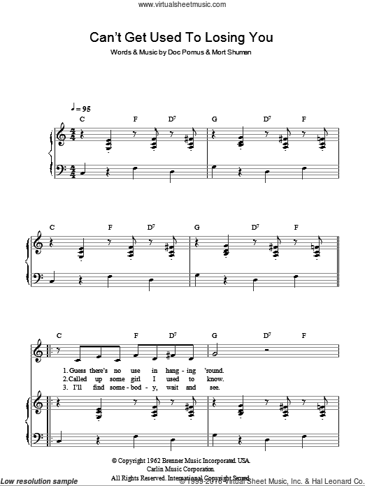 Can't Get Used To Losing You sheet music for voice and piano by Andy Williams, Doc Pomus and Mort Shuman, intermediate. Score Image Preview.