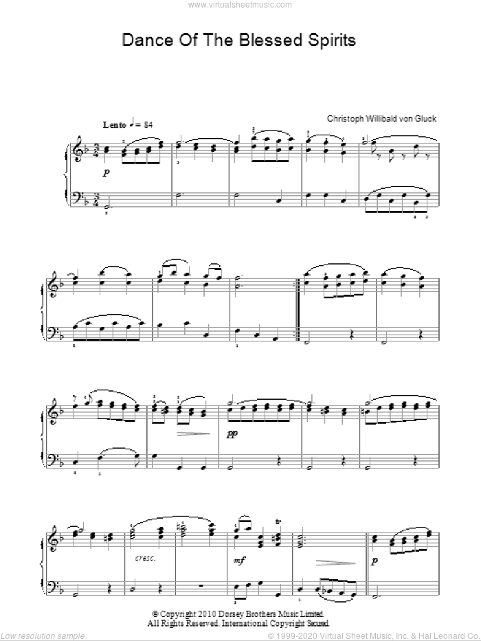 Dance Of The Blessed Spirits (from Orfeo ed Euridice) sheet music for piano solo by Christoph Willibald Gluck, classical score, intermediate piano. Score Image Preview.