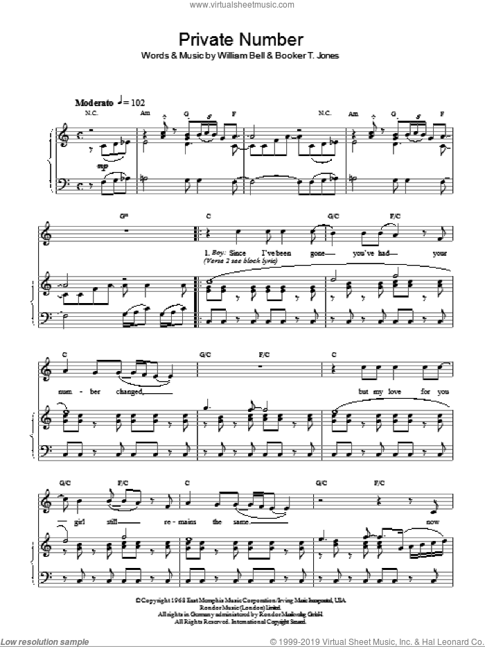 Private Number sheet music for voice, piano or guitar by The Supremes and William Bell, intermediate voice, piano or guitar. Score Image Preview.