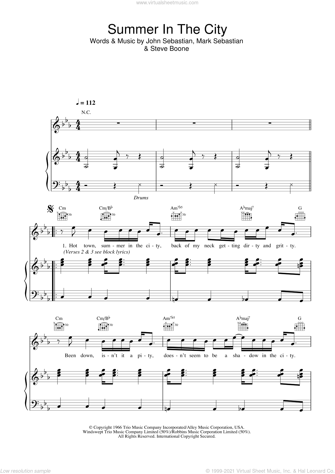 Summer In The City sheet music for voice, piano or guitar by Steve Boone