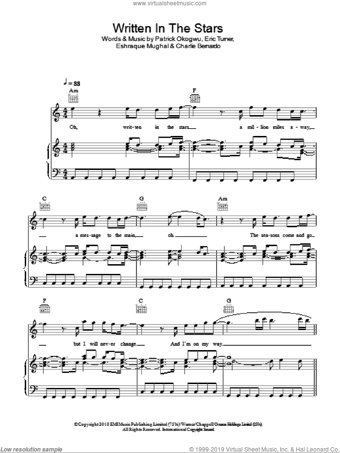 Written In The Stars sheet music for voice, piano or guitar by Tinie Tempah featuring Eric Turner, Charlie Bernardo, Eric Turner, Eshraque Mughal and Patrick Okogwu, intermediate. Score Image Preview.
