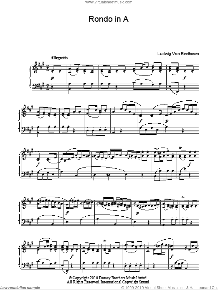 Rondo In A sheet music for piano solo by Ludwig van Beethoven, classical score, intermediate skill level