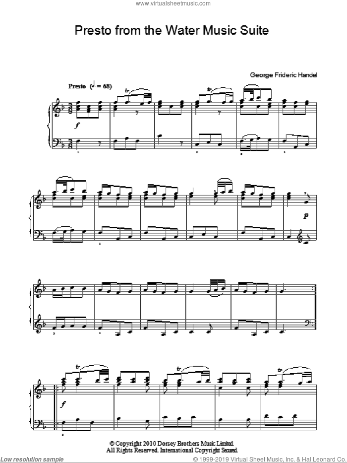Presto (from The Water Music Suite) sheet music for piano solo by George Frideric Handel, classical score, intermediate. Score Image Preview.