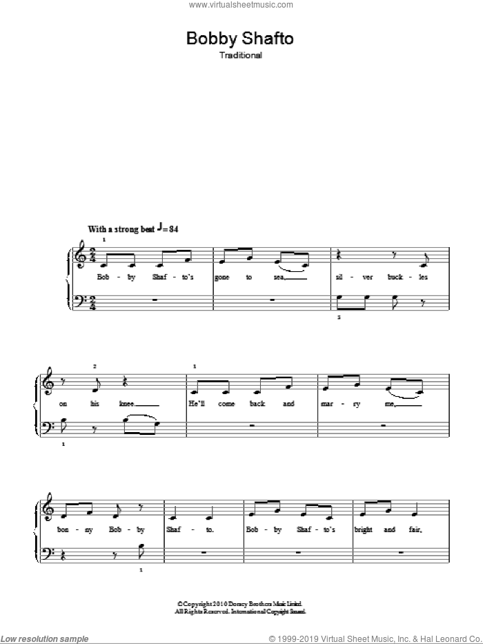 Bobby Shafto sheet music for piano solo, easy skill level
