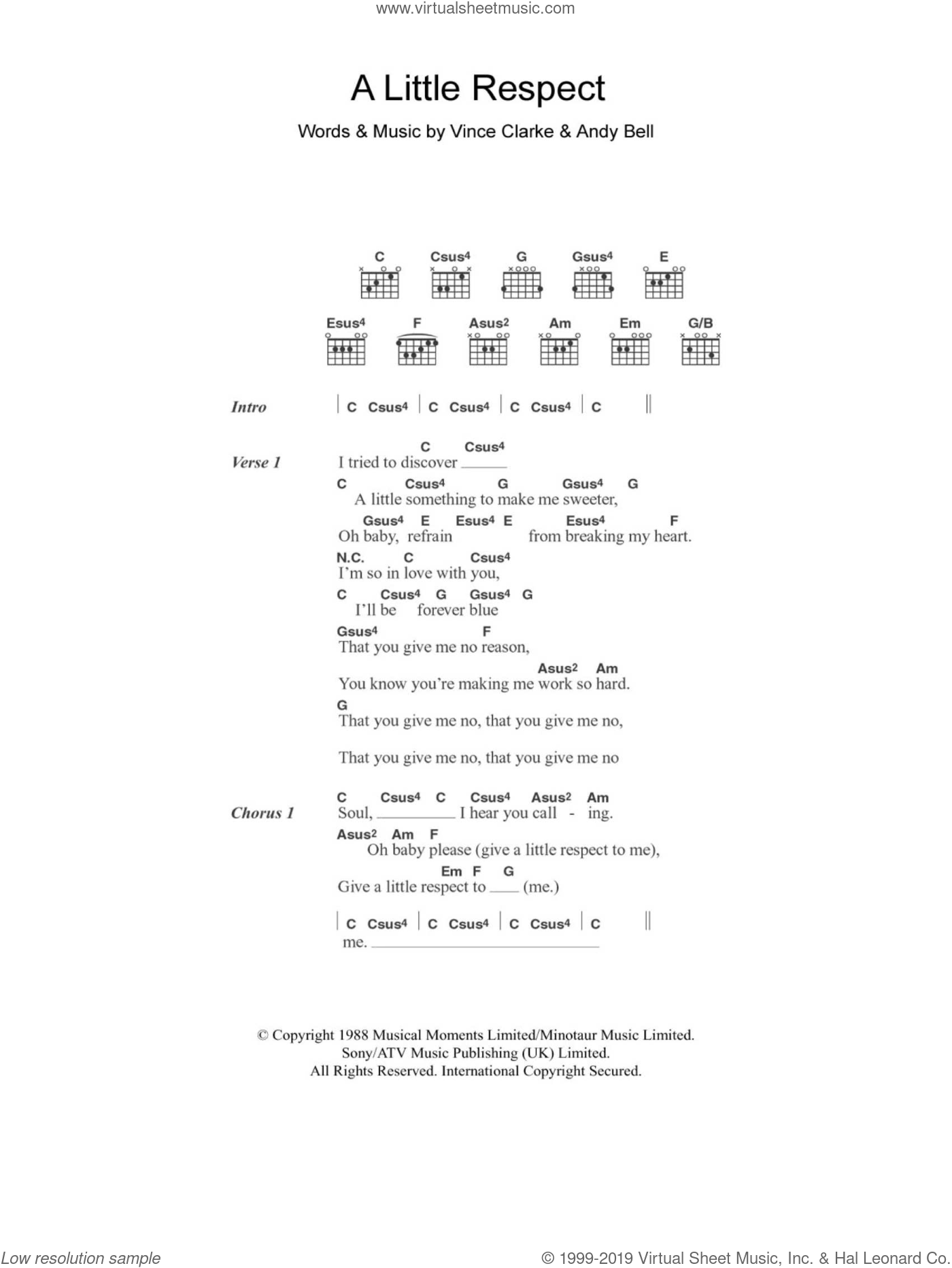 A Little Respect sheet music for guitar (chords) by Vince Clarke and Andy Bell. Score Image Preview.