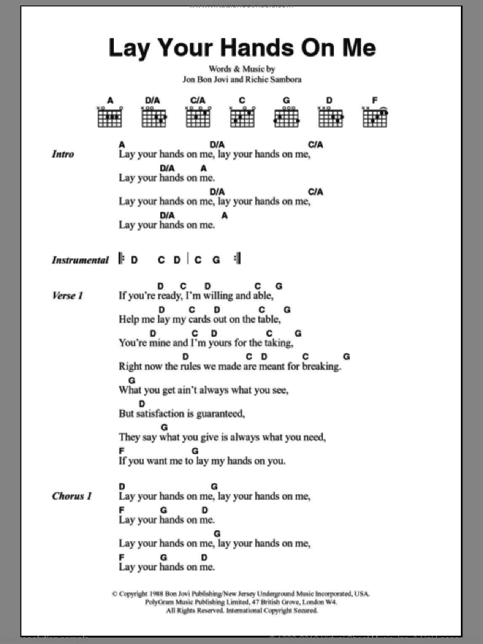 Jovi - Lay Your Hands On Me sheet music for guitar (chords) [PDF]