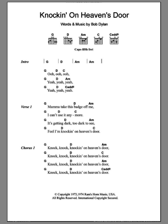 Knockin' On Heaven's Door sheet music for guitar (chords) by Avril Lavigne, Bob Dylan and Eric Clapton. Score Image Preview.