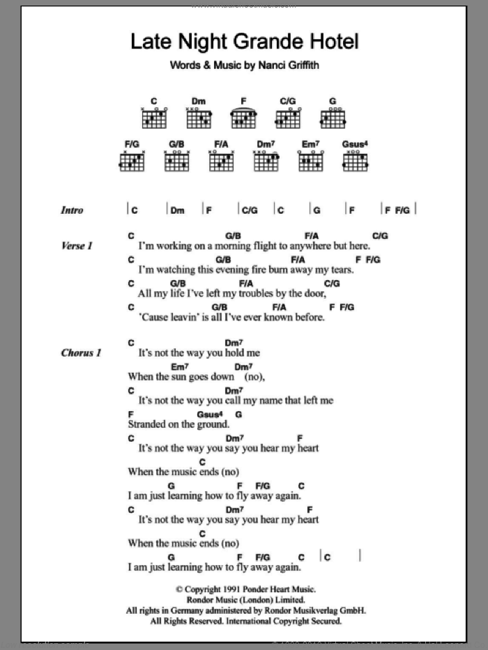 Late Night Grande Hotel sheet music for guitar (chords) by Nanci Griffith, intermediate skill level