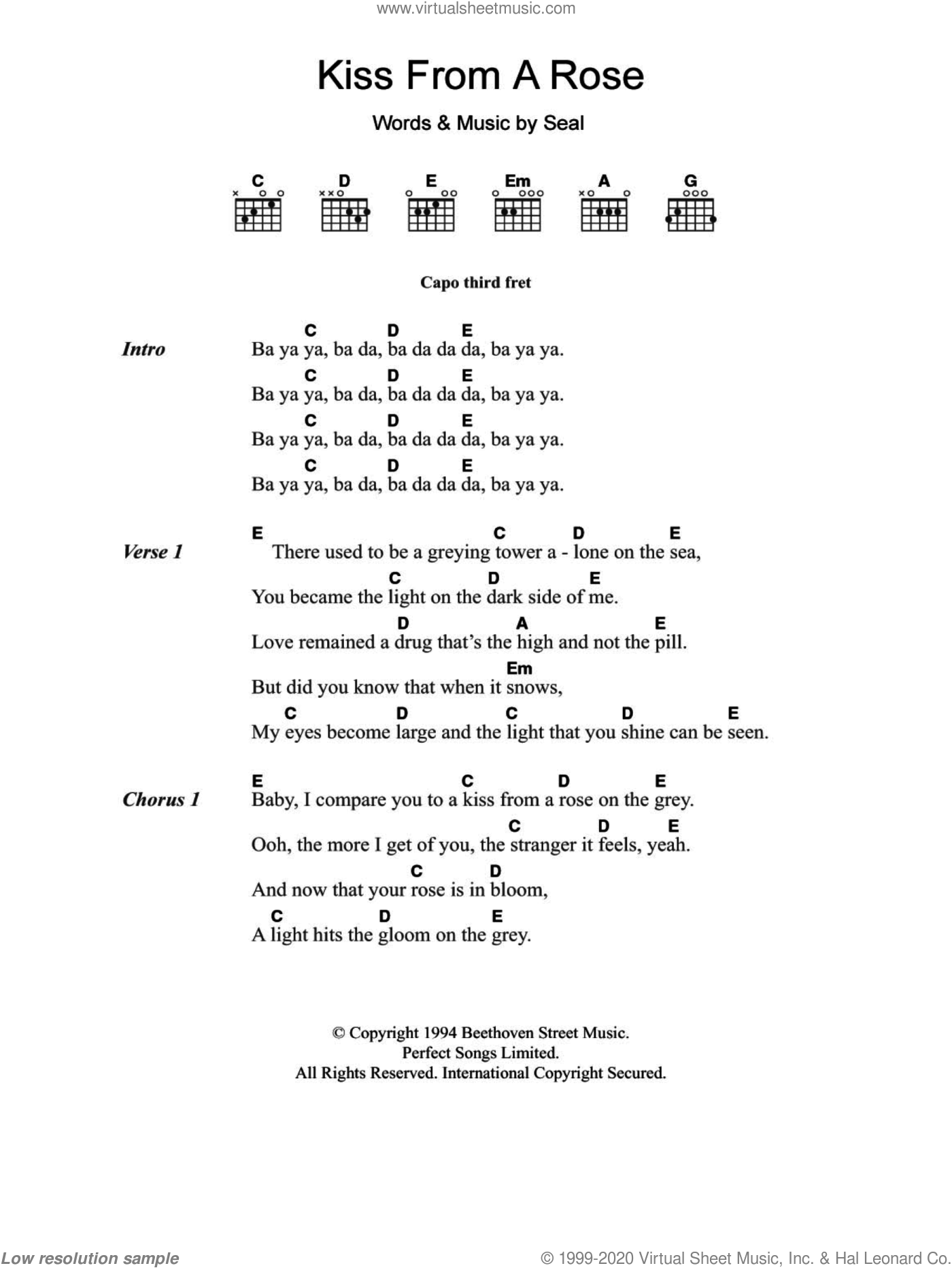 Seal   Kiss From A Rose sheet music for guitar chords [PDF]